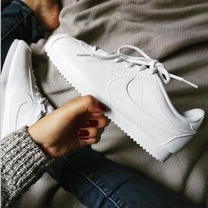 NWT Nike Cortez Leather Triple White